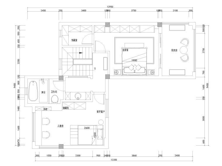 [南京]200㎡三居室混搭风别墅施工图+3D模型-二层平面布置图