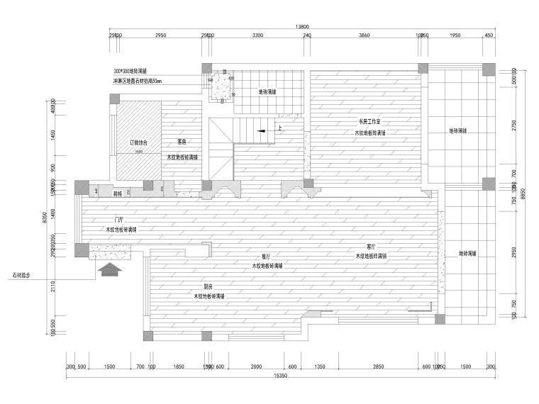 [南京]200㎡三居室混搭风别墅施工图+3D模型-一层地面铺装图