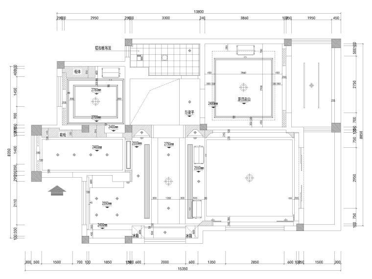 [南京]200㎡三居室混搭风别墅施工图+3D模型-一层天花布置图