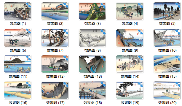 100套日本浮世绘风格可编辑展板素材合集-效果图1