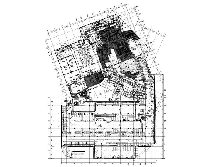 [江苏]苏宁环球酒店空调通风设计图纸-地下一层A、B区防排烟通风平面图