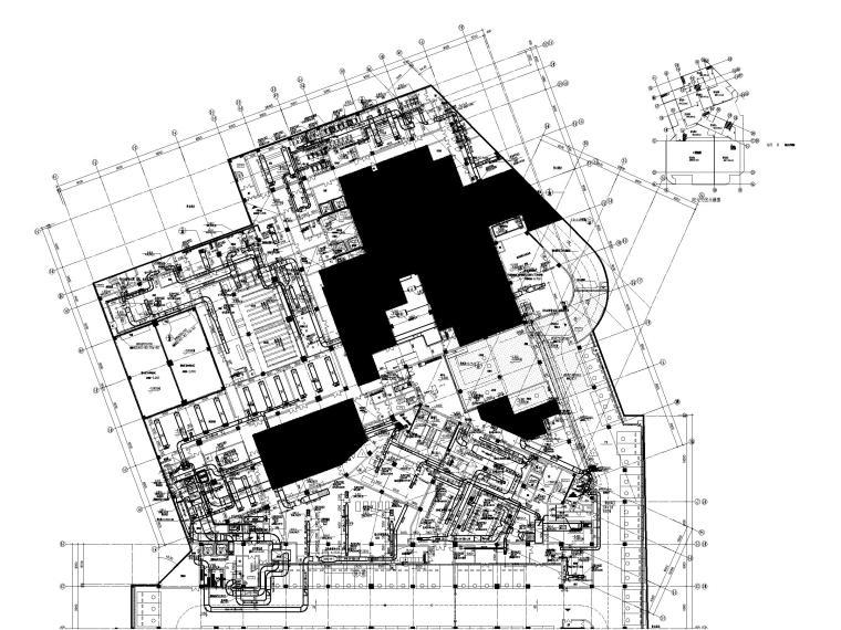 [江苏]苏宁环球酒店空调通风设计图纸-地下一层A区空调通风平面图