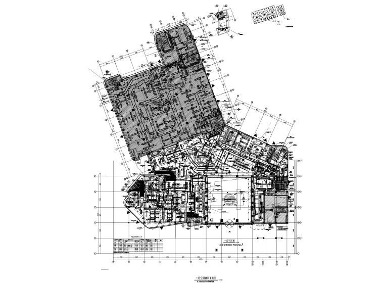 [江苏]苏宁环球酒店空调通风设计图纸-一层空调风管、水管平面图