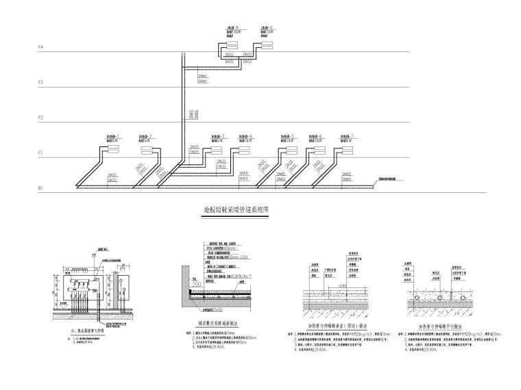 [江苏]苏宁环球酒店空调通风设计图纸-地板辐射采暖管道系统图