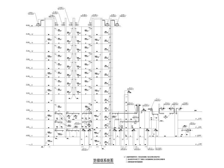 [江苏]苏宁环球酒店空调通风设计图纸-防排烟系统图