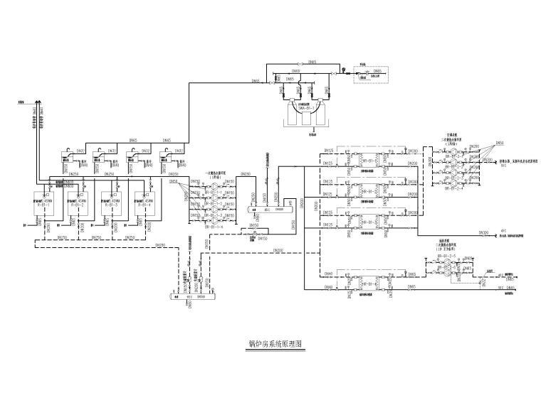 [江苏]苏宁环球酒店空调通风设计图纸-锅炉房系统原理图