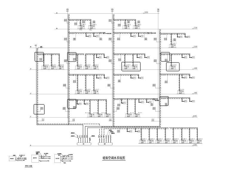 [江苏]苏宁环球酒店空调通风设计图纸-裙房空调水系统图