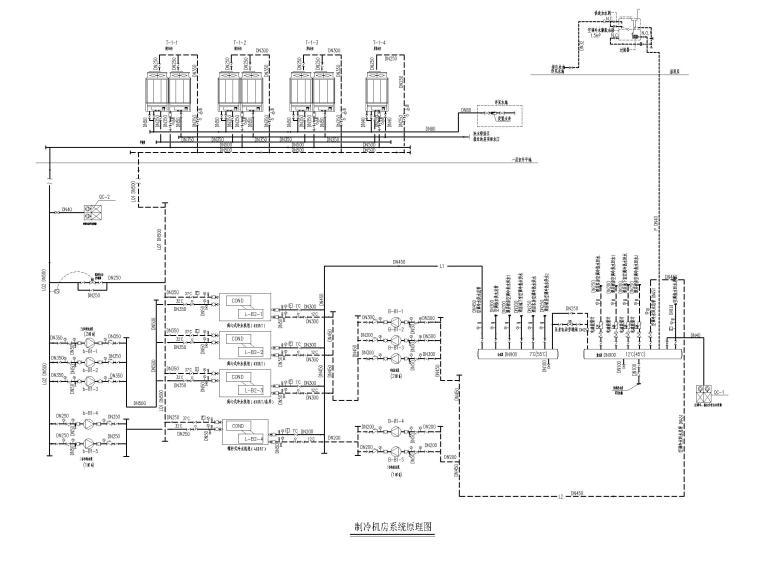 [江苏]苏宁环球酒店空调通风设计图纸-制冷机房系统原理图