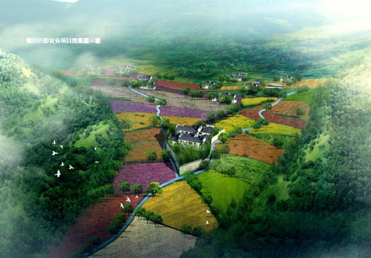 [安徽]宣城山水养生休闲村庄旅游规划景观-黄田色彩农业项目效果图示意