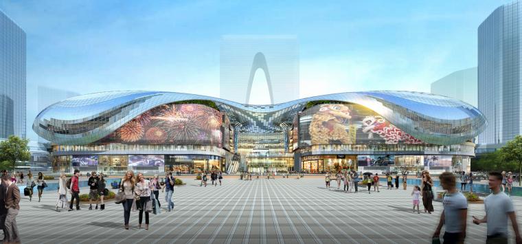 [江苏]苏州多层综合商场建筑施工图+SU模型-内圈-西立面