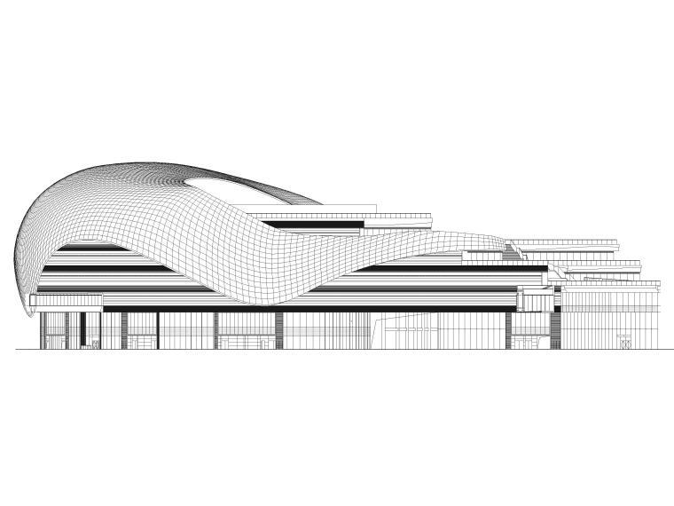 [江苏]苏州多层综合商场建筑施工图+SU模型-BCQ区南立面图