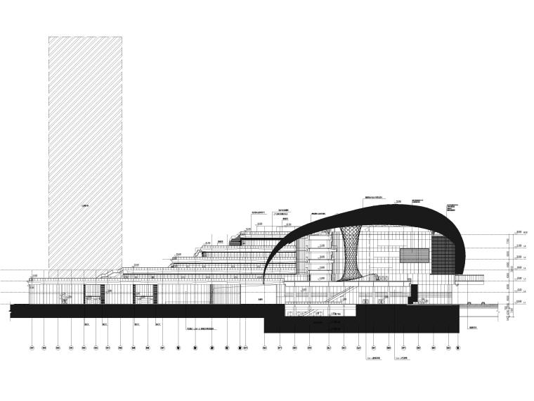 [江苏]苏州多层综合商场建筑施工图+SU模型-建筑立面图