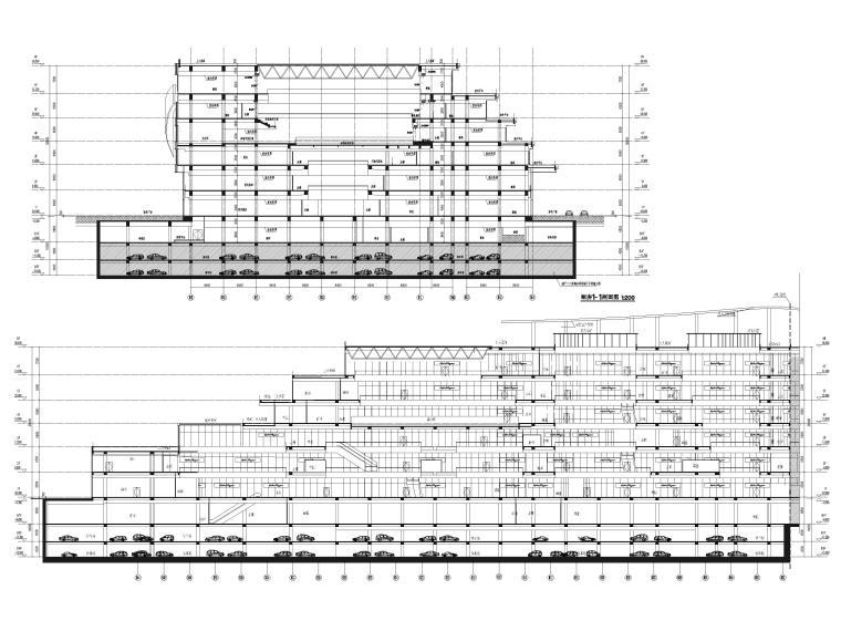 [江苏]苏州多层综合商场建筑施工图+SU模型-裙房剖面图