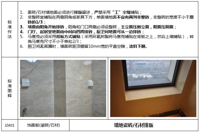 知名地产精装房交付验收标准(101页)-墙地瓷砖、石材排版
