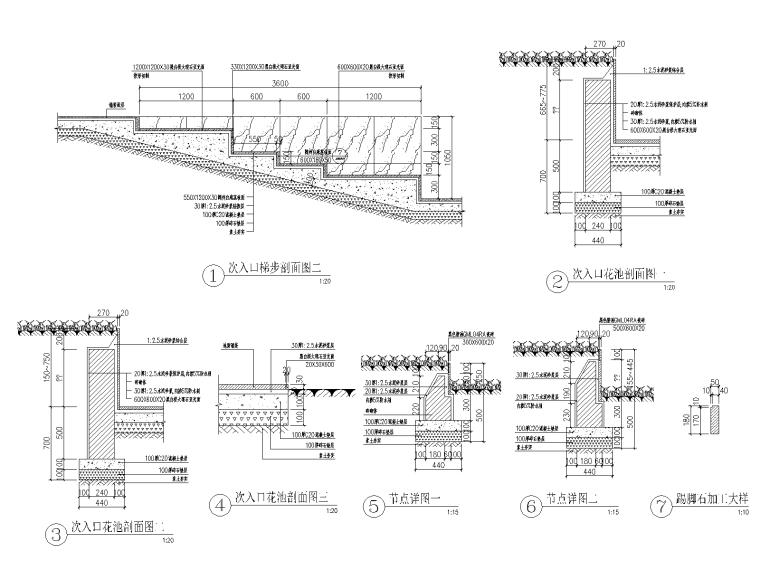 [重庆]现代高端小区绿化cad施工图2019-次入口剖立面