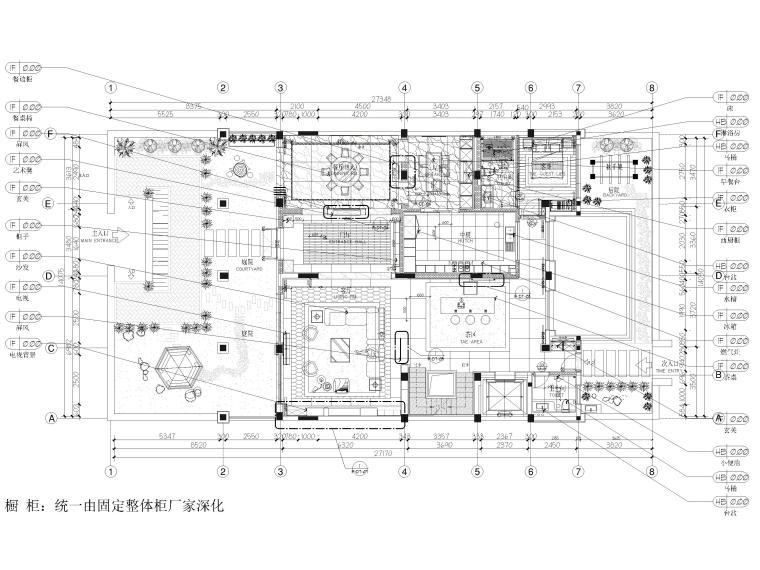 330㎡二层三居中式别墅样板间施工图