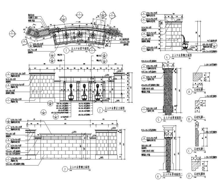 [江苏]知名企业丽景湾展示区园建CAD施工图-水景详图
