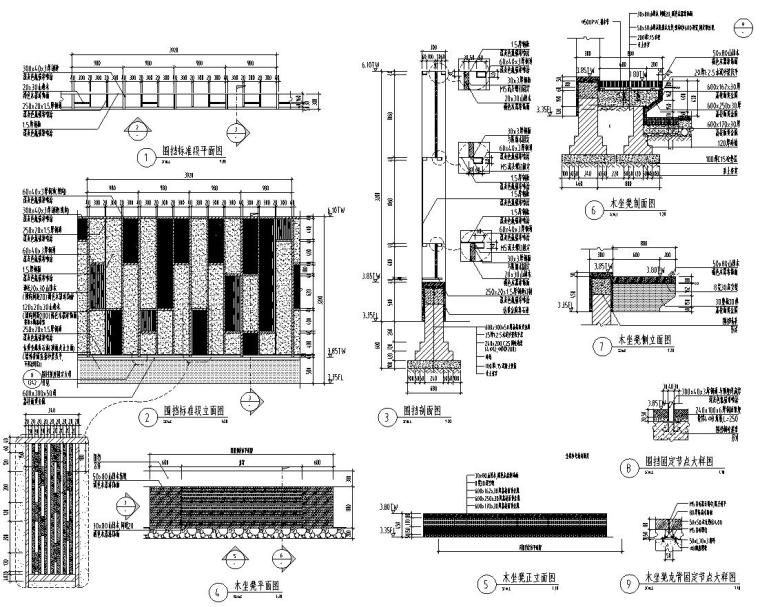 [江苏]知名企业丽景湾展示区园建CAD施工图-围挡详图1