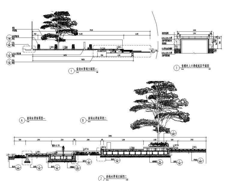 [江苏]知名企业丽景湾展示区园建CAD施工图-信楼处前场水景详图