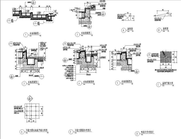[江苏]知名企业丽景湾展示区园建CAD施工图-信楼处前场水景详图2