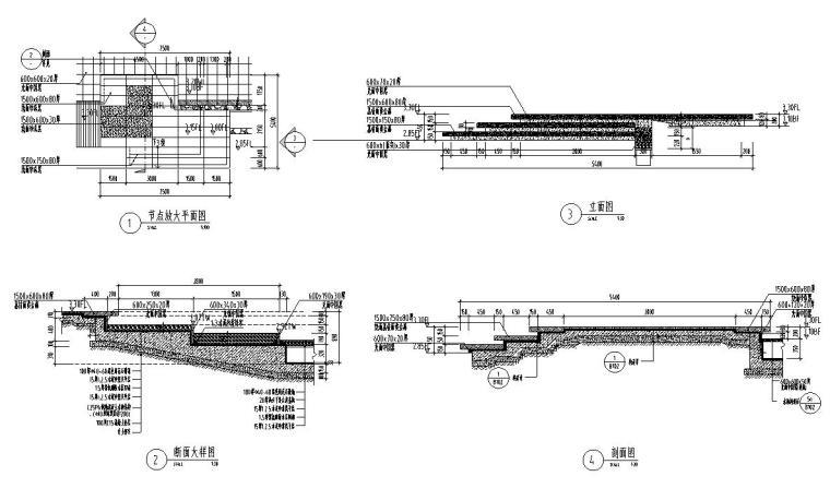 [江苏]知名企业丽景湾展示区园建CAD施工图-信楼处前场水景详图6