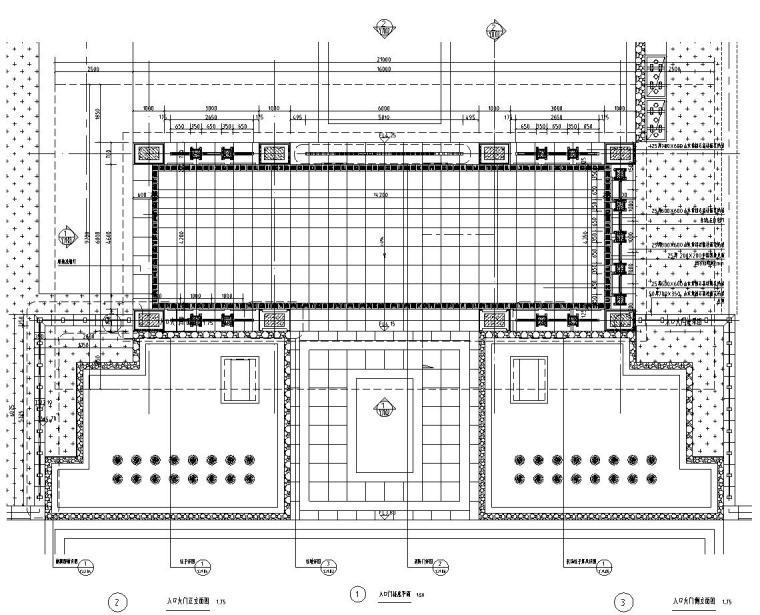 [浙江]新亚洲风格顶豪地产示范区景观施工图-入口门楼详图