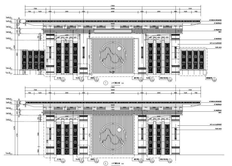 [浙江]新亚洲风格顶豪地产示范区景观施工图-入口门楼详图1