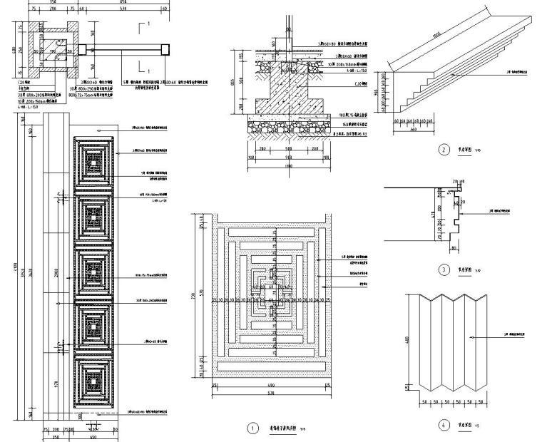 [浙江]新亚洲风格顶豪地产示范区景观施工图-入口门楼详图4