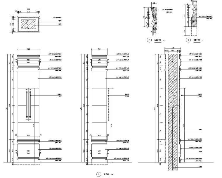 [浙江]新亚洲风格顶豪地产示范区景观施工图-入口门楼详图2