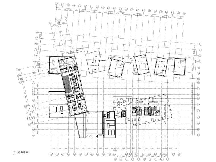[上海]浦东商业办公综合体建筑项目施工图-四层组合平面图