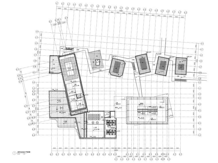 [上海]浦东商业办公综合体建筑项目施工图-屋顶层组合平面图