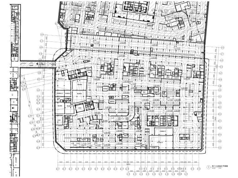 [上海]浦东商业办公综合体建筑项目施工图-地下二层平面图