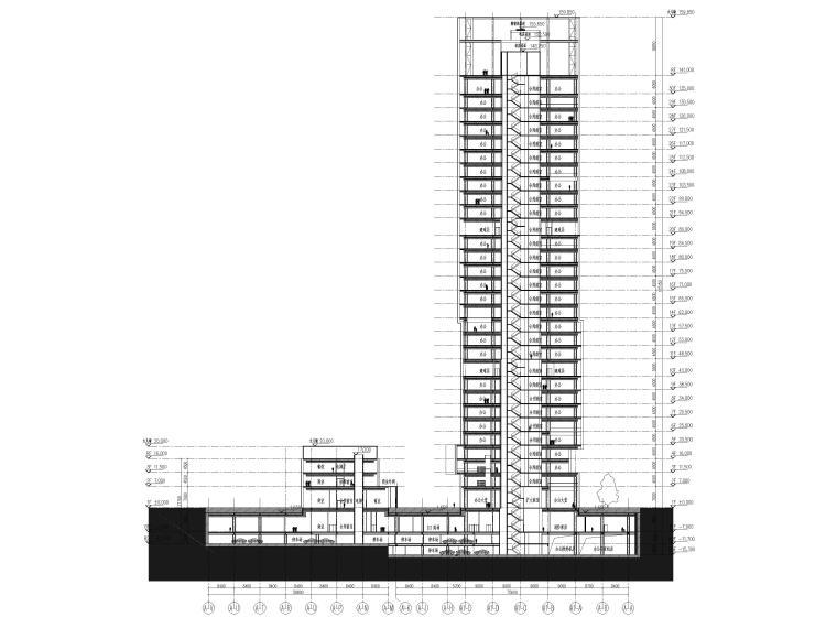 [上海]浦东商业办公综合体建筑项目施工图-组合剖面图