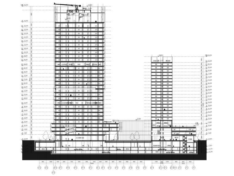 [上海]浦东商业办公综合体建筑项目施工图-组合剖面图2