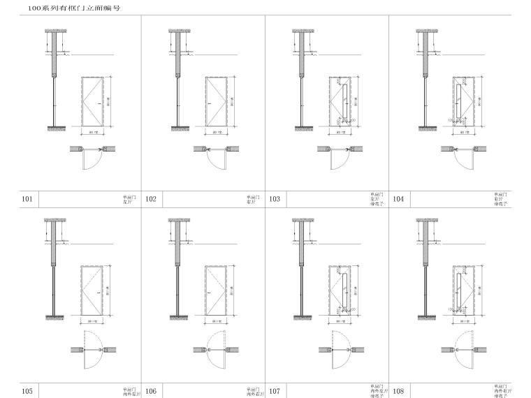 [上海]浦东商业办公综合体建筑项目施工图-有框门立面图