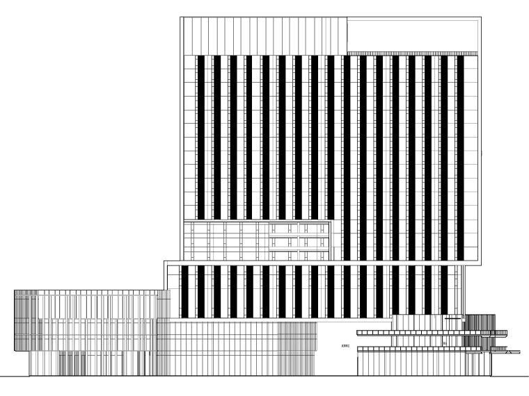 [上海]浦东商业办公综合体建筑项目施工图-建筑立面图