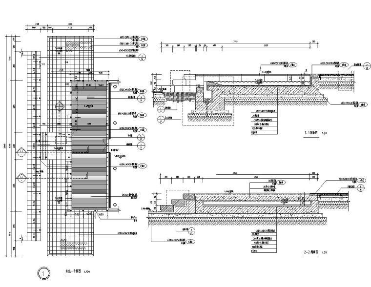 [浙江]杭州现代风示范区景观CAD全套施工图-水池一详图
