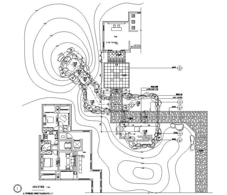 [浙江]杭州现代风示范区景观CAD全套施工图-自然水系