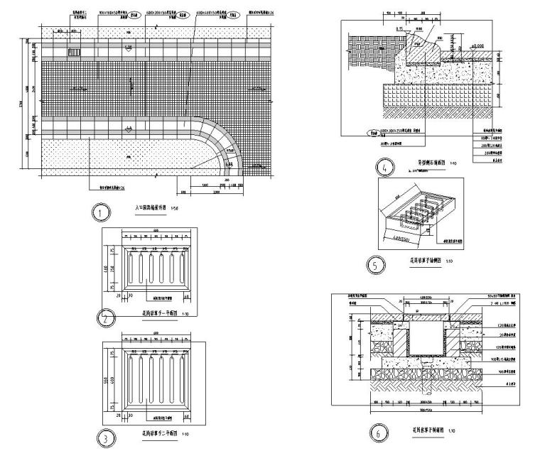 [浙江]杭州现代风示范区景观CAD全套施工图-入口区景观详图设计2