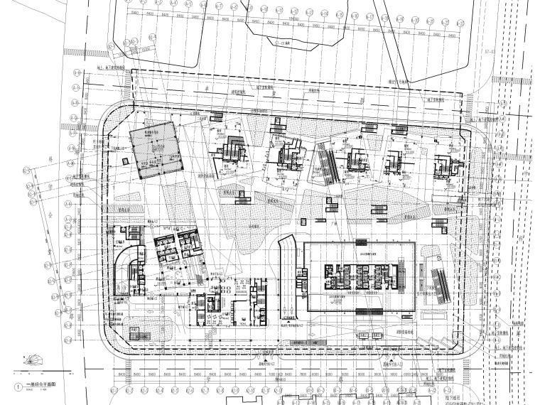 [上海]浦东商业办公综合体建筑项目施工图-一层组合平面图