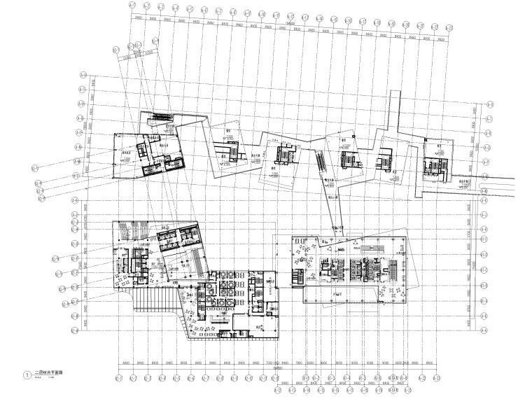 [上海]浦东商业办公综合体建筑项目施工图-二层组合平面图
