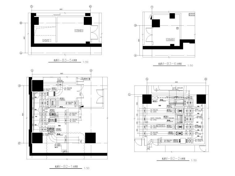苏州五星级酒店_甲级写字楼暖通施工图2018-地下室机房大样图二