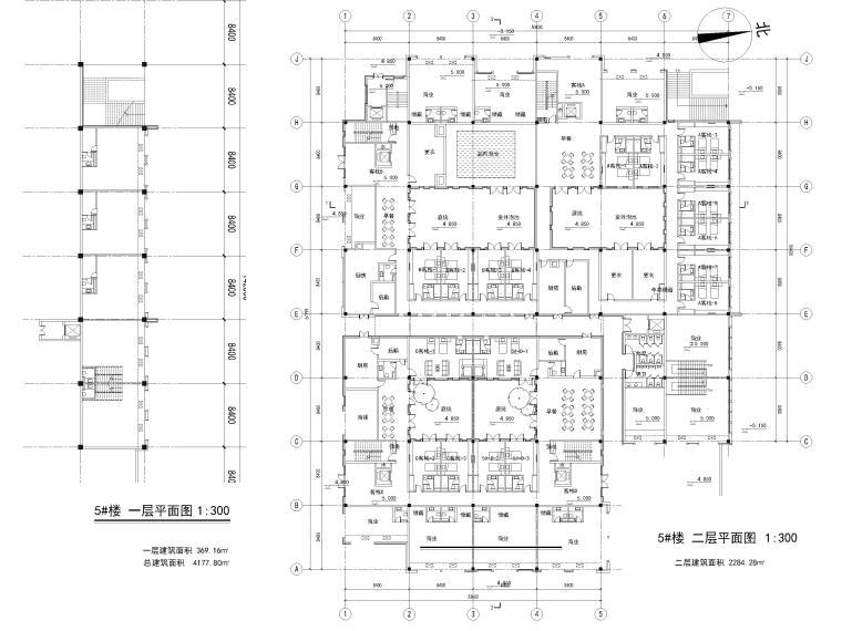 [浙江]北山旅游度假小镇民宿建筑施工图-5#楼 一层,二层平面图