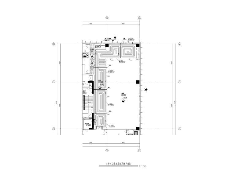苏州五星级酒店_甲级写字楼暖通施工图2018-四十四层泳池地板采暖平面图