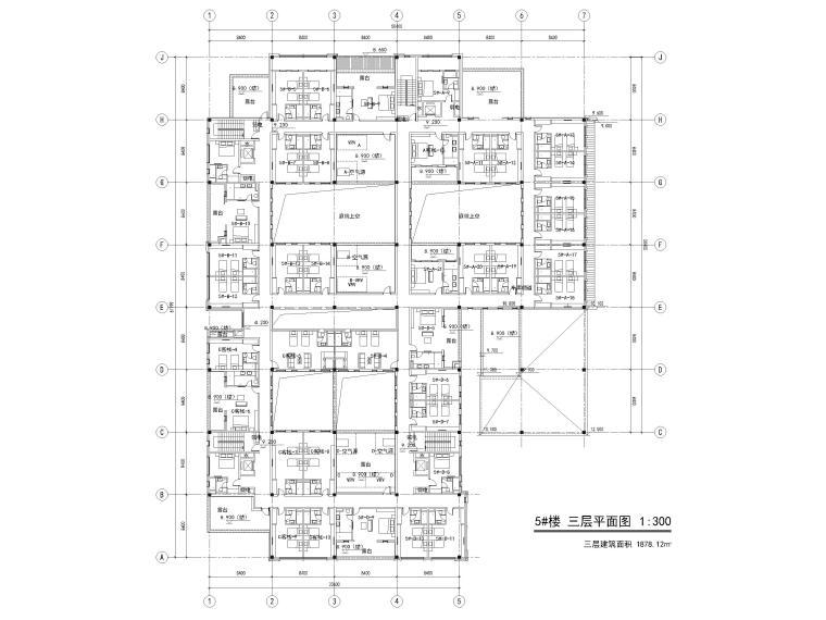 [浙江]北山旅游度假小镇民宿建筑施工图-5#楼三层平面图