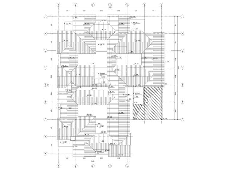 [浙江]北山旅游度假小镇民宿建筑施工图-5#楼屋顶层平面图