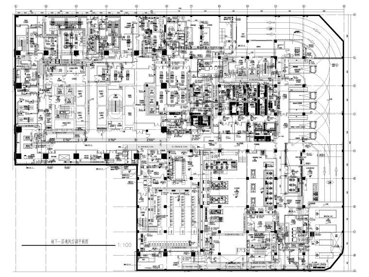 苏州五星级酒店_甲级写字楼暖通施工图2018-地下一层通风空调平面图