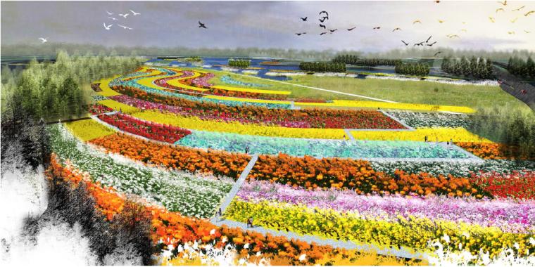 [湖北]孝感美丽乡村概念规划设计方案-大地花海艺术区效果图