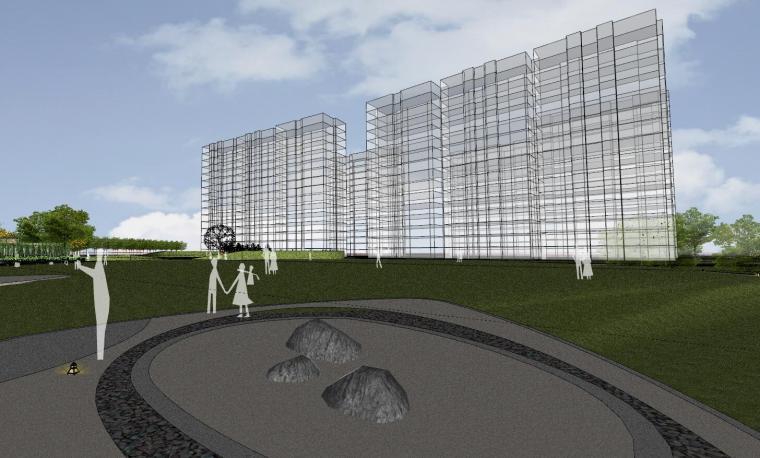[杭州]现代风格中央公园样板房建筑模型_3