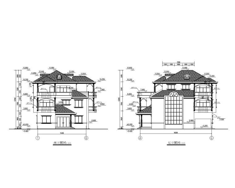 三层砖混结构别墅设计施工图(CAD)-建筑立面图